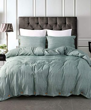 JELLYMONI Green Duvet Cover Set3 In 1 Luxury Button Bedding SetUltra Soft Breathable Hypoallergenic Microfiber Easy CareSimple StyleSolid Color Duvet Cover Queen Size90x90No Comforter 0 300x360
