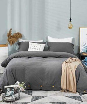 KINBEDY Washed Cotton Duvet Cover Bedding Set Solid Color With Button Design 3 Piece Comforter Cover Set Dark Grey King 0 300x360