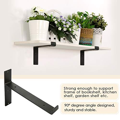 KINGSO Metal Wall Shelf Brackets 8L X 6H Rustic Shelf Supports Flush Fit Hardware Only Bracket Set Of 2 Includes Screws Wall Anchors 0 2
