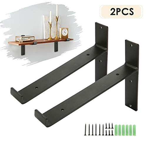 KINGSO Metal Wall Shelf Brackets 8L X 6H Rustic Shelf Supports Flush Fit Hardware Only Bracket Set Of 2 Includes Screws Wall Anchors 0