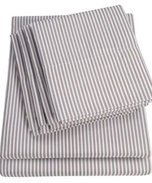 King Size Bed Sheets 6 Piece 1500 Thread Count Fine Brushed Microfiber Deep Pocket King Sheet Set Bedding 2 Extra Pillow Cases Great Value King Classic Stripe Gray 0 300x360