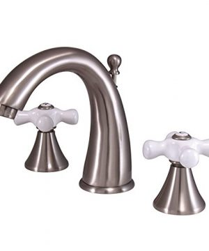 Kingston Brass KS2978PX Naples Widespread Lavatory Faucet With Porcelain Cross Handle Brushed Nickel 0 300x360