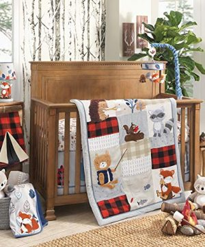 Lambs Ivy Little Campers 5 Piece Crib Bedding Set Blue Red Gray Beige 0 300x360