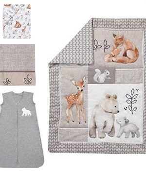 Lambs Ivy Painted Forest 4 Piece Crib Bedding Set Gray Beige White 0 0 300x360