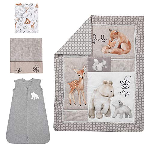 Lambs Ivy Painted Forest 4 Piece Crib Bedding Set Gray Beige White 0 0