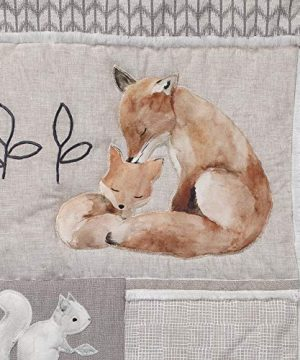 Lambs Ivy Painted Forest 4 Piece Crib Bedding Set Gray Beige White 0 1 300x360