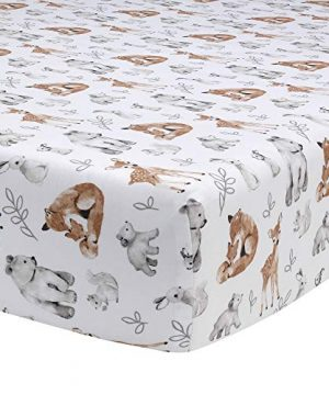 Lambs Ivy Painted Forest 4 Piece Crib Bedding Set Gray Beige White 0 2 300x360