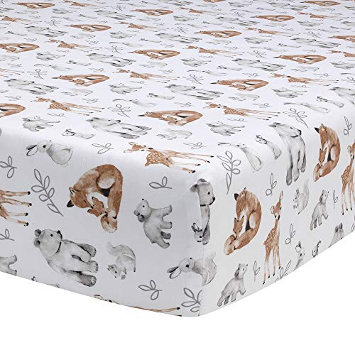 Lambs Ivy Painted Forest 4 Piece Crib Bedding Set Gray Beige White 0 2
