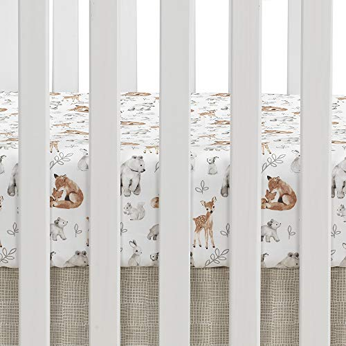 Lambs Ivy Painted Forest 4 Piece Crib Bedding Set Gray Beige White 0 3