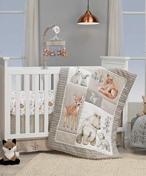 Lambs Ivy Painted Forest 4 Piece Crib Bedding Set Gray Beige White 0 300x360