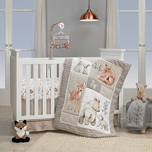 Lambs Ivy Painted Forest 4 Piece Crib Bedding Set Gray Beige White 0