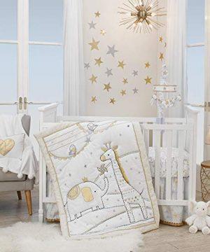 Lambs Ivy Signature Jamboree 3 Piece Crib Bedding Set Gray Gold White 0 300x360