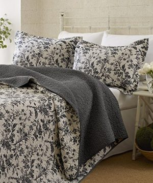 Laura Ashley Amberley Quilt Set King Black 0 300x360
