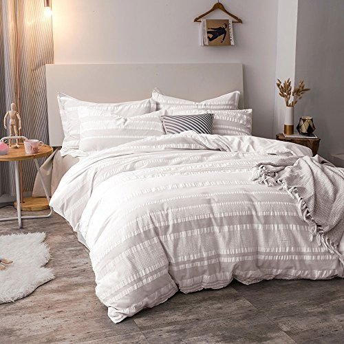 Queen Size Lausonhouse Cotton Duvet Cover Set,100/% Cotton Yarn Dyed Strip Comforter Cover with 2 Pillowshams