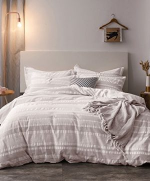 Lausonhouse-Cotton-Duvet-Cover-Set100-Cotton-Yarn-Dyed-Seersucker-Woven-Stripe-Comforter-Cover-with-2-Pillowshams-Queen-0