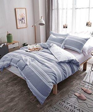 Lausonhouse-Cotton-Duvet-Cover-Set100-Cotton-Yarn-Dyed-Stripe-Comforter-Cover-with-2-Pillowshams-King-0-0