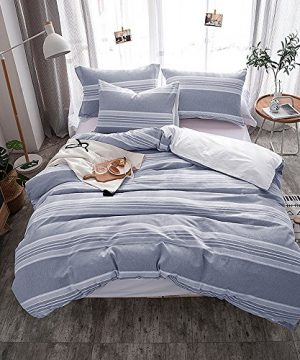 Lausonhouse Cotton Duvet Cover Set100 Cotton Yarn Dyed Stripe Comforter Cover With 2 Pillowshams King 0 300x360
