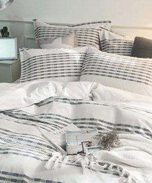 Lausonhouse Cotton Duvet Cover Set100 Cotton Yarn Dyed Stripe Duvet Cover Set3 Pieces Bedding Set King 0 1 300x360