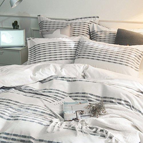 Lausonhouse Cotton Duvet Cover Set100 Cotton Yarn Dyed Stripe Duvet Cover Set3 Pieces Bedding Set King 0 1