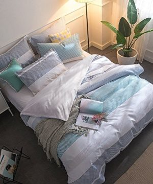 Lausonhouse-Cotton-Duvet-Cover-Set100-Cotton-Yarn-Dyed-Striped-Bedding-Set-Queen-0-0