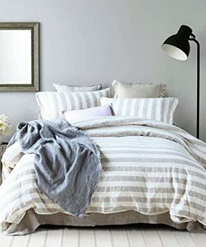 Lausonhouse-French-Linen-Duvet-Cover-Set-100-Yarn-Dyed-Linen-Striped-Duvet-Cover-SetLuxury-Bedding-Set-King-Natural-Stripe-0
