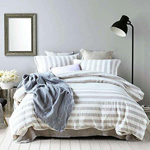 Lausonhouse-French-Linen-Duvet-Cover-Set-100-Yarn-Dyed-Linen-Striped-Duvet-Cover-SetLuxury-Bedding-Set-King-Natural-Stripe-0