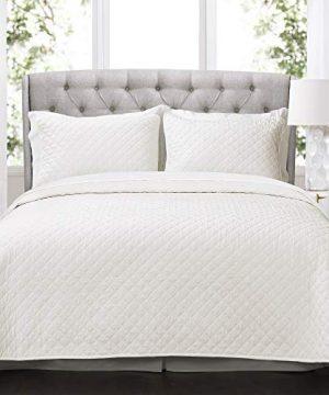 Lush Decor Ava Quilt Diamond Pattern Solid 3 Piece Oversized Bedding Blanket Bedspread Set King White 0 300x360