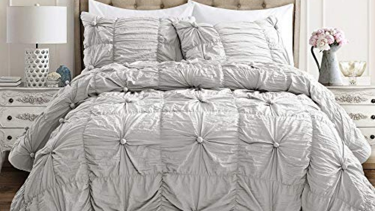 Lush Decor Light Gray Bella Comforter Set Shabby Chic Style Ruched 3 Piece Bedding With Pillow Shams Full Queen Farmhouse Goals