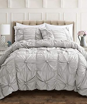 Lush-Decor-Bella-Comforter-Set-Shabby-Chic-Style-Ruched-3-Piece-Bedding-with-Pillow-Shams-Full-Queen-Light-Gray-0-0