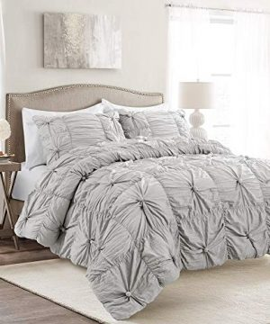 Lush Decor Bella Comforter Set Shabby Chic Style Ruched 3 Piece Bedding With Pillow Shams Full Queen Light Gray 0 300x360