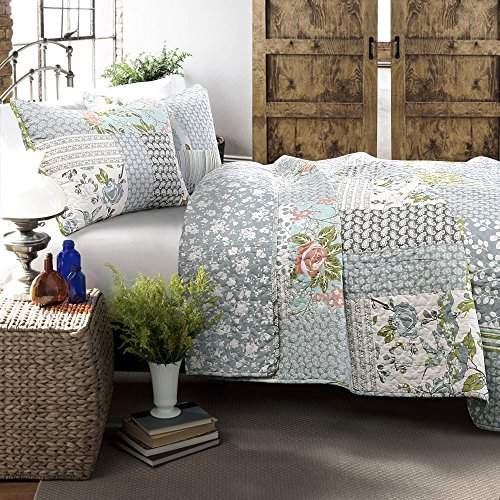 Lush Decor Blue Roesser Quilt Patchwork Floral Reversible Print Pattern Country Farmhouse Style 3 Piece Bedding Set King 0 0