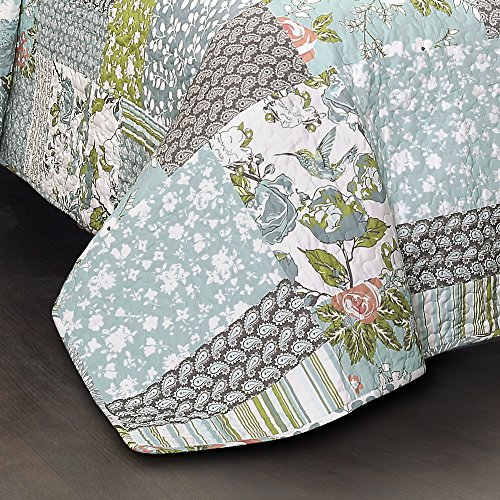 Lush Decor Blue Roesser Quilt Patchwork Floral Reversible Print Pattern Country Farmhouse Style 3 Piece Bedding Set King 0 1