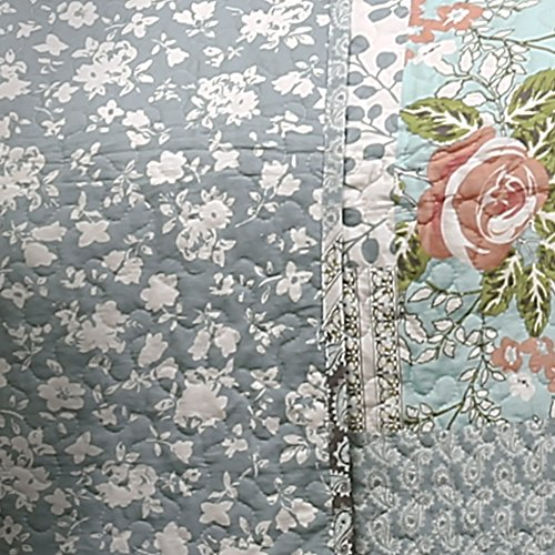 Lush Decor Blue Roesser Quilt Patchwork Floral Reversible Print Pattern Country Farmhouse Style 3 Piece Bedding Set King 0 2