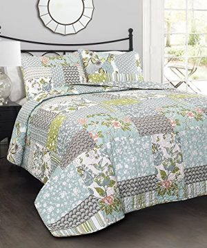Lush Decor Blue Roesser Quilt Patchwork Floral Reversible Print Pattern Country Farmhouse Style 3 Piece Bedding Set King 0 300x360