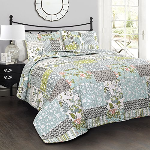 Lush Decor Blue Roesser Quilt Patchwork Floral Reversible Print Pattern Country Farmhouse Style 3 Piece Bedding Set King 0