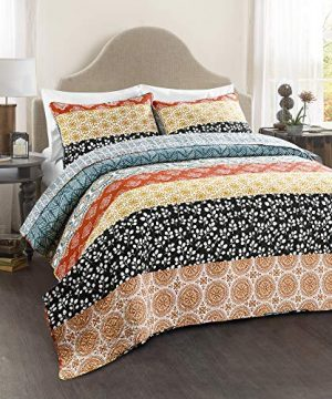Lush Decor Bohemian Striped Quilt Reversible 3 Piece Colorful Boho Design Bedding Set FullQueen Turquoise 0 0 300x360