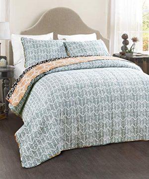 Lush Decor Bohemian Striped Quilt Reversible 3 Piece Colorful Boho Design Bedding Set FullQueen Turquoise 0 1 300x360
