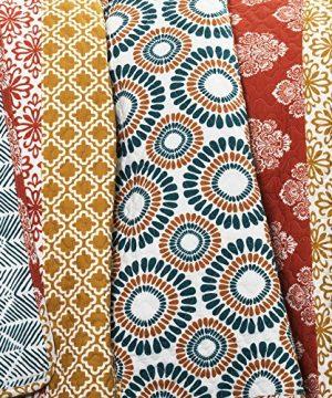 Lush Decor Bohemian Striped Quilt Reversible 3 Piece Colorful Boho Design Bedding Set FullQueen Turquoise 0 3 300x360