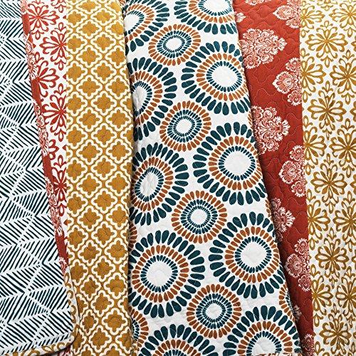 Lush Decor Bohemian Striped Quilt Reversible 3 Piece Colorful Boho Design Bedding Set FullQueen Turquoise 0 3