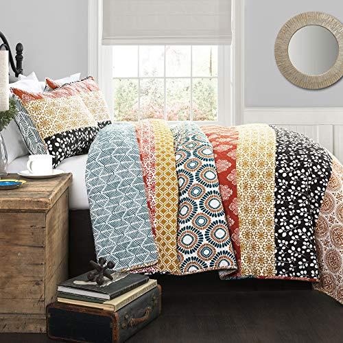 Lush Decor Bohemian Striped Quilt Reversible 3 Piece Colorful Boho Design Bedding Set FullQueen Turquoise 0