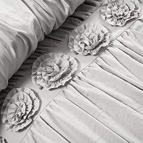 Lush Decor Darla 3 Piece Comforter Set King Light Gray 0 1