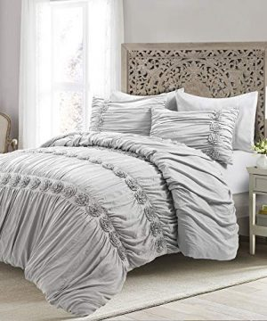 Lush Decor Darla 3 Piece Comforter Set King Light Gray 0 300x360