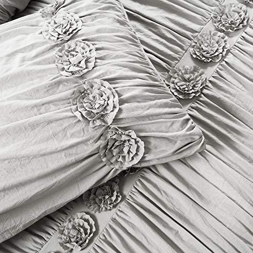 Lush Decor Darla 3 Piece Comforter Set King Light Gray 0 4