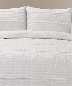 Lush Decor Dcor Pom Stripe 3Piece Quilt Set King White 0 0 300x360