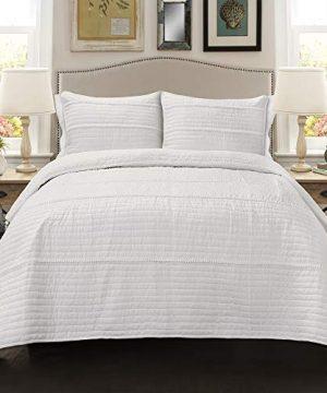 Lush Decor Dcor Pom Stripe 3Piece Quilt Set King White 0 1 300x360