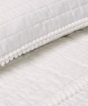 Lush Decor Dcor Pom Stripe 3Piece Quilt Set King White 0 2 300x360