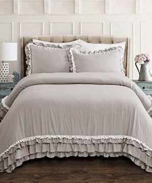 Lush Decor Ella Shabby Chic Ruffle Lace 3 Piece Comforter Set King Light Gray 0 300x360