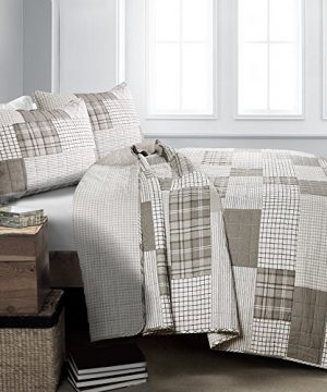 Lush Decor Greenville 3 Piece Quilt Set King Taupe 0 300x360