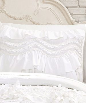 Lush Decor Kemmy Quilt Ruffled Textured 3 Piece King Size Bedding Set White 0 0 300x360