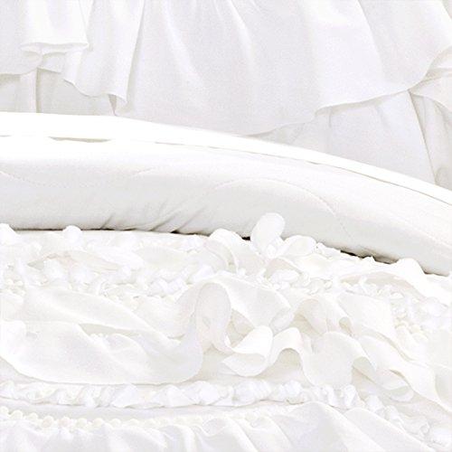 Lush Decor Kemmy Quilt Ruffled Textured 3 Piece King Size Bedding Set White 0 1